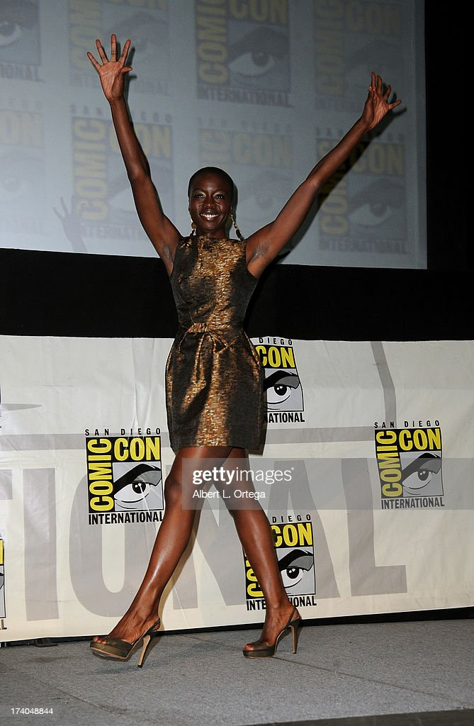 Actress Danai Gurira speaks onstage at AMC's 'The Walking Dead' panel during Comic-Con International 2013 at San Diego Convention Center on July 19, 2013 in San Diego, California.