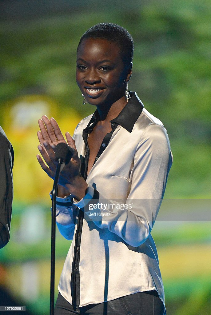 Actress Danai Gurira speaks onstage during Spike TV's 10th annual Video Game Awards at Sony Pictures Studios on December 7 2012 in Culver City...