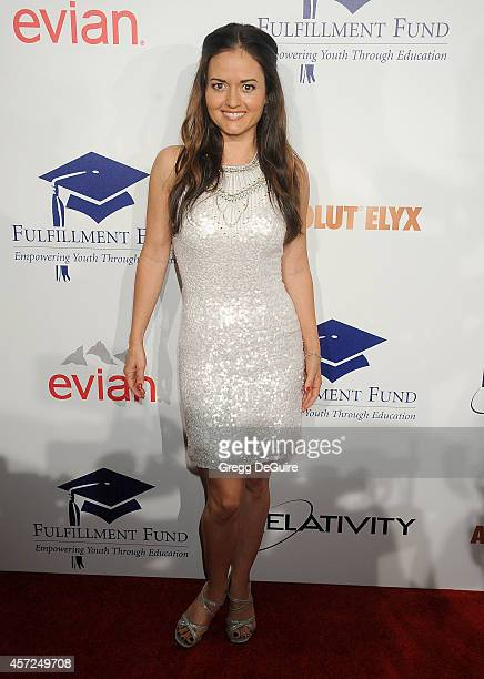 Actress Danica McKellar arrives at the 20th Annual Fulfillment Fund Stars Benefit Gala at The Beverly Hilton Hotel on October 14 2014 in Beverly...