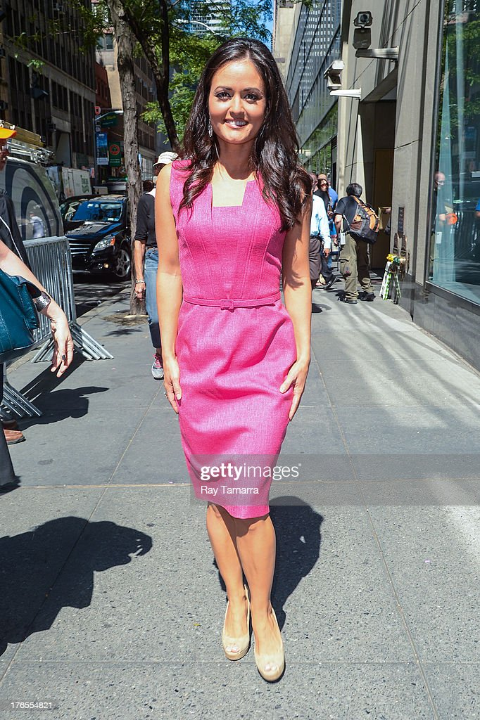 Actress Danica McKellar leaves the 'Today Show' taping at the NBC Rockefeller Center Studios on August 15, 2013 in New York City.