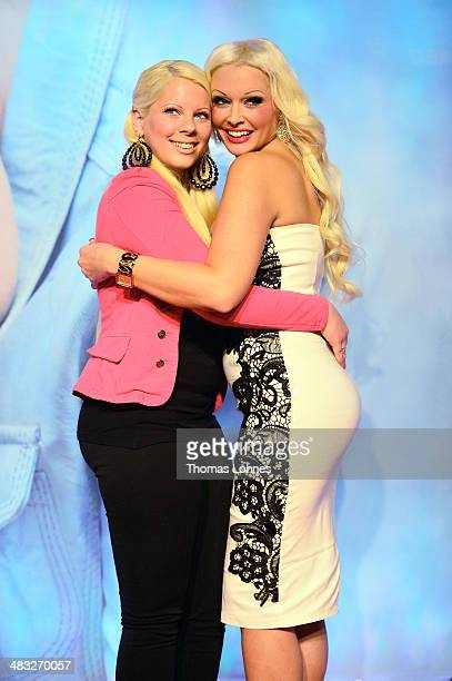 Actress Daniela Katzenberger and her halfsister Jennifer Frankhauser pose on April 7 2014 in Ludwigshafen Germany Daniela Katzenberger is in the...