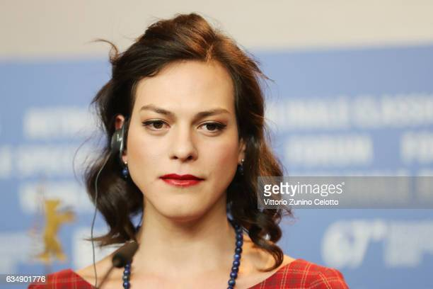 Actress Daniela Vega attends the 'A Fantastic Woman' press conference during the 67th Berlinale International Film Festival Berlin at Grand Hyatt...