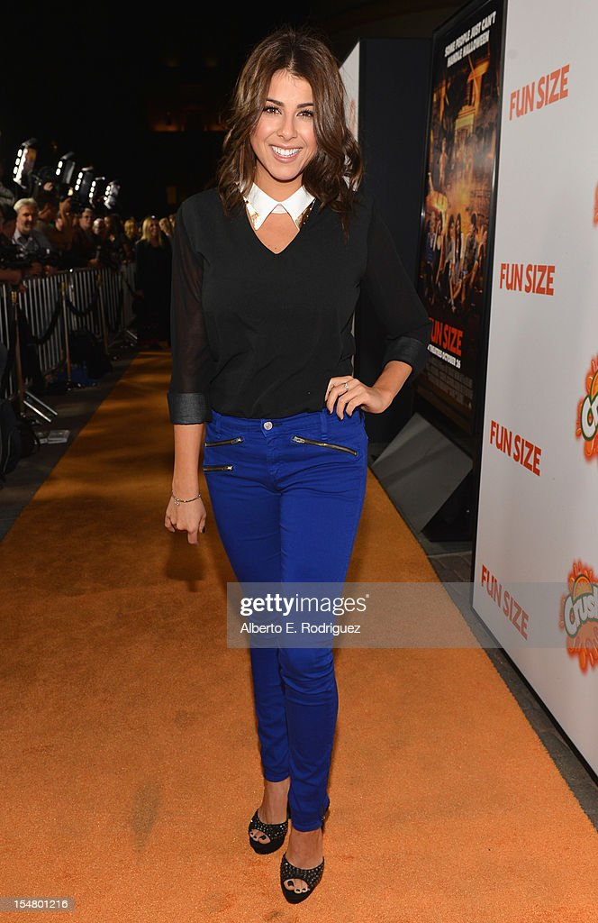 Actress Daniella Monet arrives to the premiere of Paramount Pictures' 'Fun Size' at Paramount Theater on the Paramount Studios lot on October 25, 2012 in Hollywood, California.