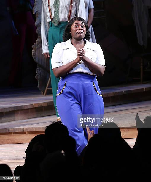 Actress Danielle Brooks takes a bow during curtain call following her debut performance in Broadway's 'The Color Purple' at The Bernard B Jacobs...