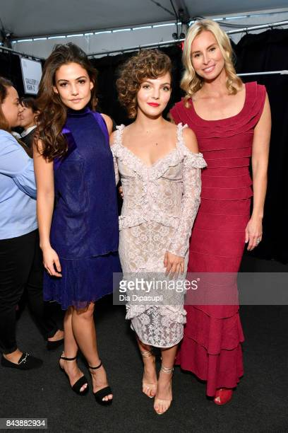 Actress Danielle Campbell actress Camren Bicondova and model Niki Taylor pose backstage before the Tadashi Shoji fashion show at Gallery 1 Skylight...