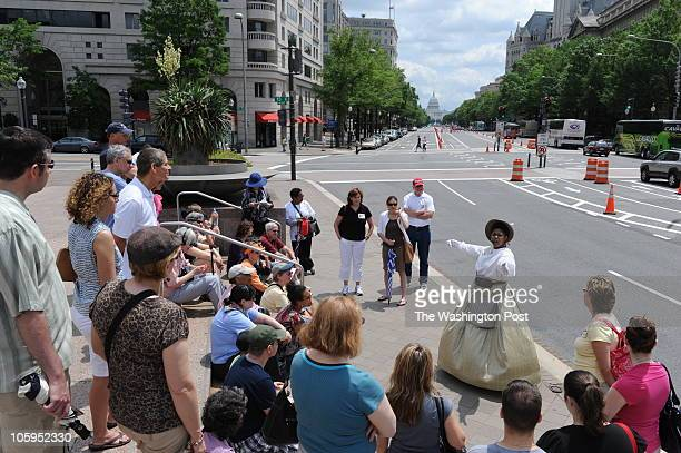 Actress Danielle Drakes a tour guide at Ford's Theatre leads a DC walking tour dressed as Mary Todd Lincoln's seamstress Elizabeth Keckly on May 22...