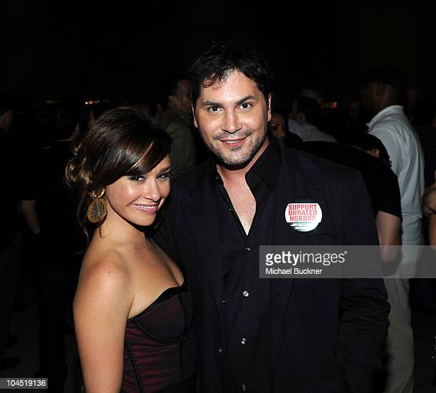 Actress Danielle Harris and director Adam Green attend the cocktail reception of Dark Sky Films' 'Hatchet II' at Grauman's Egyptian Theatre on...