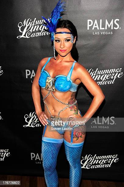 Actress Danielle Harris arrives to unveil her costume at midsummer lingerie carnival at the Palms Casino Resort on August 17 2013 in Las Vegas Nevada