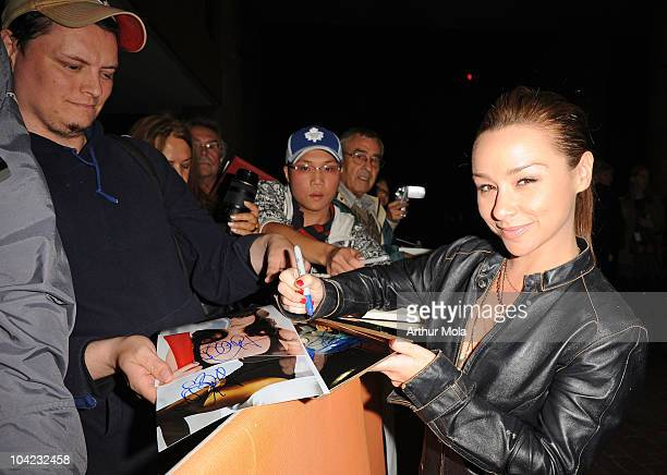 Actress Danielle Harris signs autographs at the 'Stake Land' Premiere during the 35th Toronto International Film Festival at Ryerson Theatre on...