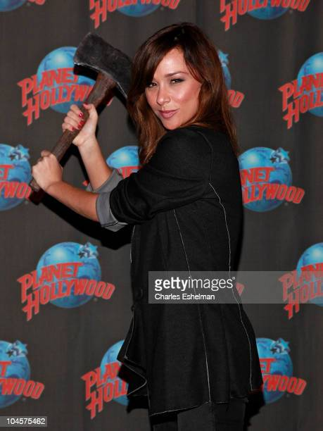 Actress Danielle Harris swings double edge axe at Planet Hollywood Times Square on September 30 2010 in New York City