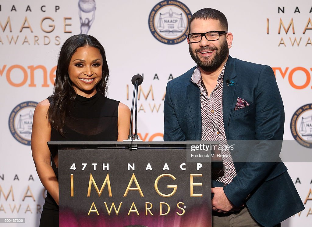 Actress Danielle Nicolet and actor Guillermo Diaz speak during the 47th NAACP Image Awards Nominations Press Conference at The Paley Center for Media...