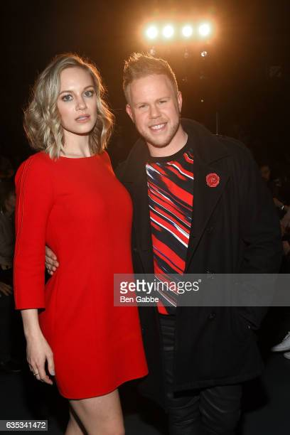 Actress Danielle Savre and Andrew Werner attend the Miguel Vieira fashion show during New York Fashion Week at Pier 59 Studios on February 14 2017 in...