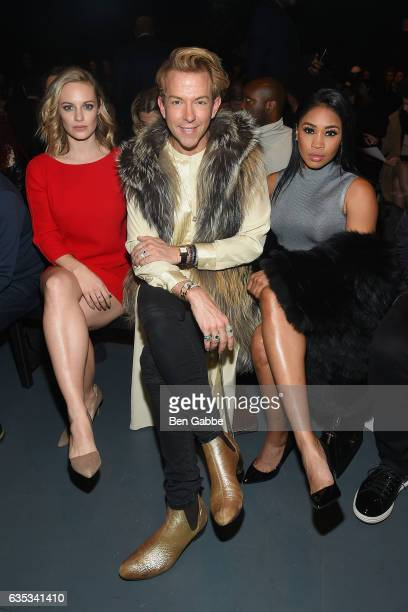 Actress Danielle Savre TV personality Derek Warburton and professional wrestler Ariane Andrew attend the Miguel Vieira fashion show during New York...