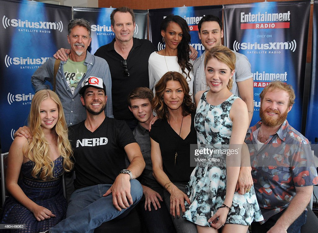 Actress Danika Yaroush, writer Tim Kring, actors Zachary Levi, Jack Coleman, Robbie Kay, Judith Shekoni, Rya Kihlstedt, Ryan Guzman, Gatlin Green and Henry Zebrowski attend SiriusXM's Entertainment Weekly Radio Channel Broadcasts From Comic-Con 2015 at Hard Rock Hotel San Diego on July 11, 2015 in San Diego, California.