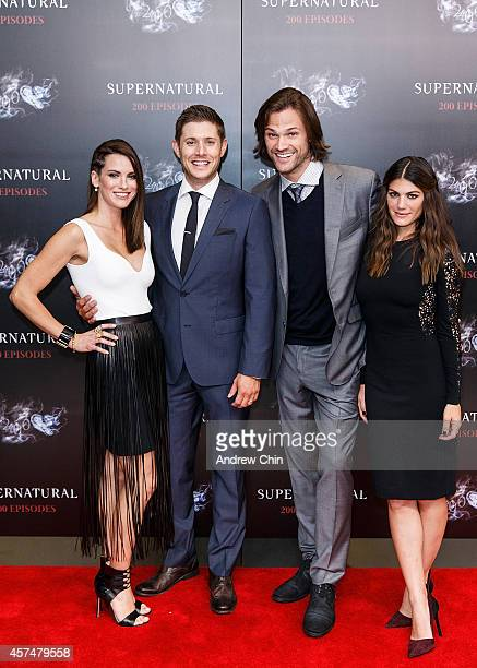 Actress Danneel Ackles Actor Jensen Ackles Actor Jared Padalecki and Actress Genevieve Padalecki celebrate the 200th episode of 'Supernatural' at...