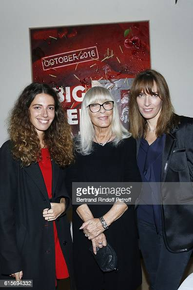 Actress Dany Saval standing between her daughter Stephanie Jarre and her granddaughter Rebecca Jarre attend the Contemporary Artist Mike Bouchet...