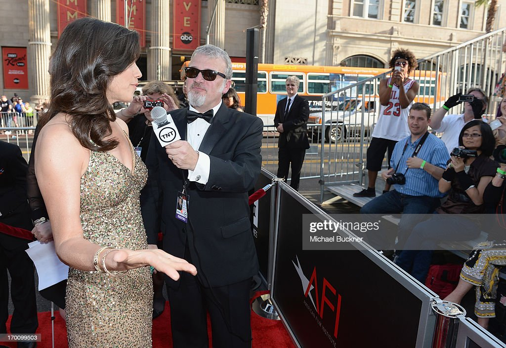 Actress Daphne Zuniga is interviewed at AFI's 41st Life Achievement Award Tribute to Mel Brooks at Dolby Theatre on June 6, 2013 in Hollywood, California. 23647_002_MB_0743.JPG