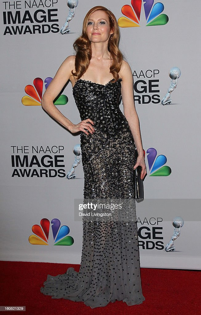 Actress Darby Stanchfield poses in the press room at the 44th NAACP Image Awards at the Shrine Auditorium on February 1, 2013 in Los Angeles, California.