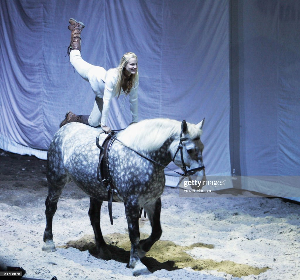 Actress Daryl Hannah performs at the opening night of Cavalia to benefit the American Human Association on November 10 2004 in Santa Monica, California.