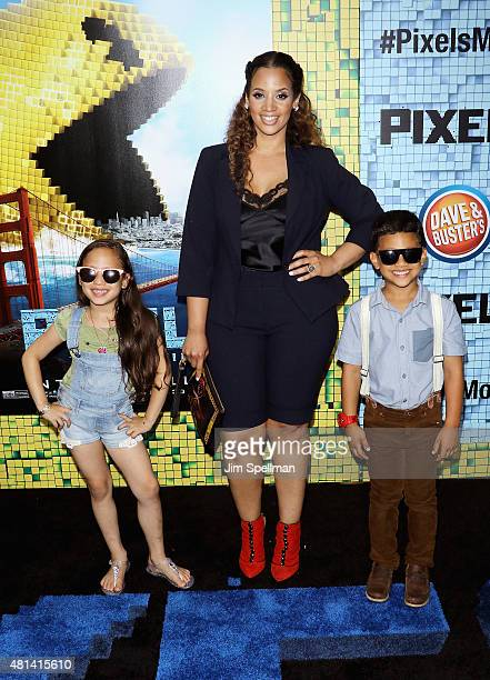 Actress Dascha Polanco and children attend the 'Pixels' New York premiere at Regal EWalk on July 18 2015 in New York City