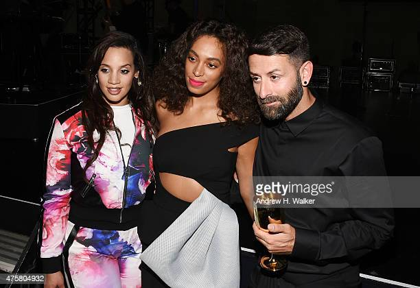 Actress Dascha Polanco singersongwriter Solange Knowles and fashion designer Marcelo Burlon attend the Moet Nectar Imperial Rose x Marcelo Burlon...