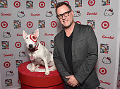 Actress Dave Coulier poses with Bullseye the Target dog to Hello Kitty Con 2014 Opening Night Party Cohosted by Target on October 29 2014 in Los...