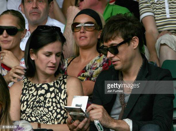 Actress Davina Taylor and The Kills guitarist Jamie Hince guests of Evian during the Wimbledon Championships 2008 at the All England Club on June 23...