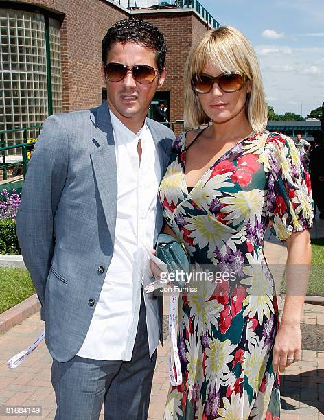 Actress Davina Taylor with her husband Dave Gardner arrive as a guests of Evian during the Wimbledon Championships 2008 at the All England Club on...
