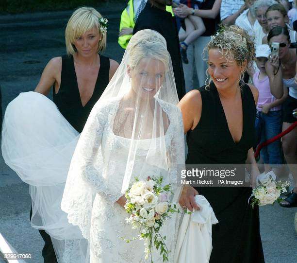 Actress Davinia Taylor arrives for her wedding to David Gardener with Jenny Frost and bridesmaid Sophie McDonnell at Chelford Cheshire