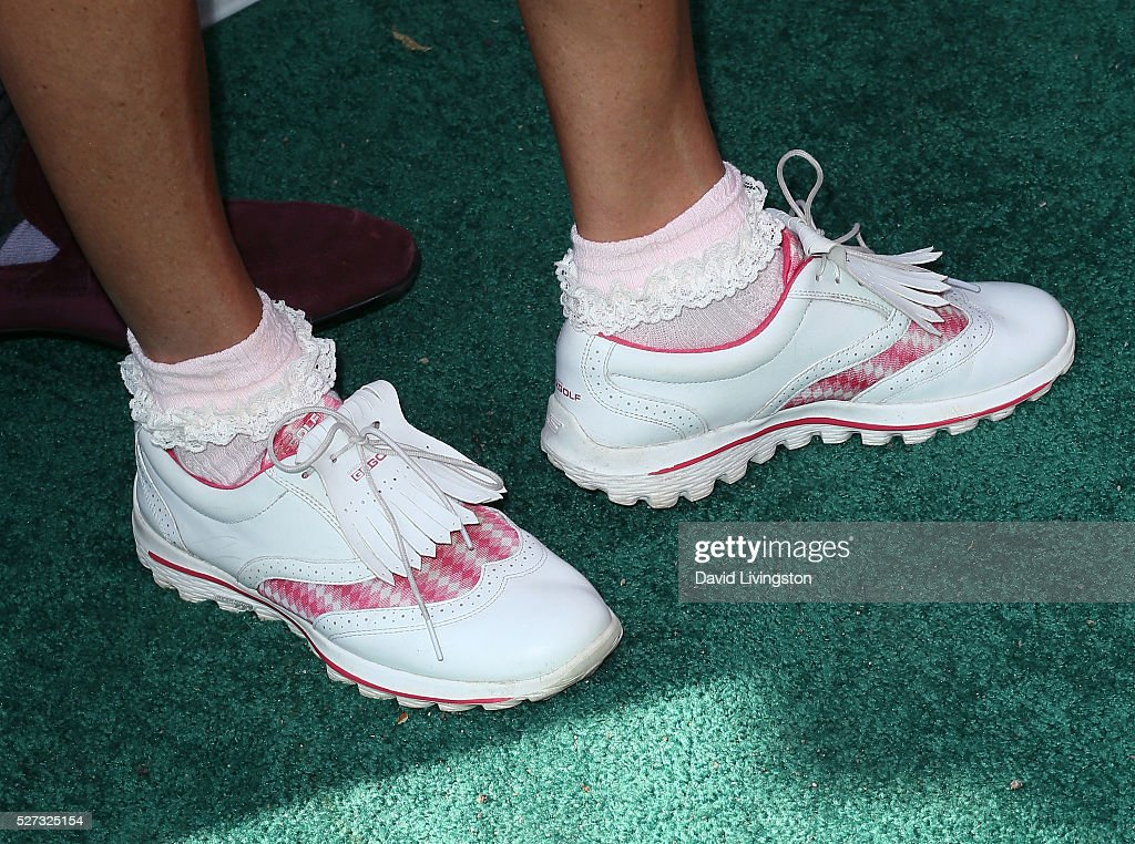 Actress Debbe Dunning, shoe detail, attends the Ninth Annual George Lopez Celebrity Golf Classic at Lakeside Golf Club on May 2, 2016 in Burbank, California.