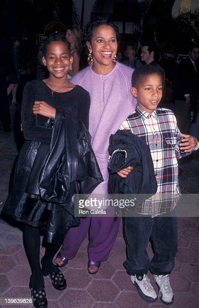 Actress Debbie Allen daughter Vivian Nixon and son Norman Nixon Jr attending the screening of 'The Lost World' on May 19 1997 at the Cineplex Odeon...