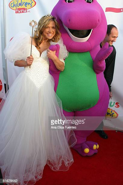 Actress Debbie Matenopoulos and Barney attend the 11th annual Children Affected by AIDS Dream Halloween fundraiser on October 30 in Santa Monica...
