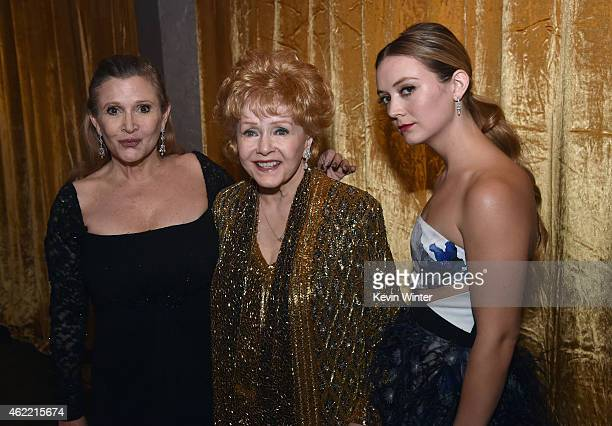 Actress Debbie Reynolds actress Carrie Fisher and actress Billie Lourd pose in the trophy room at TNT's 21st Annual Screen Actors Guild Awards at The...