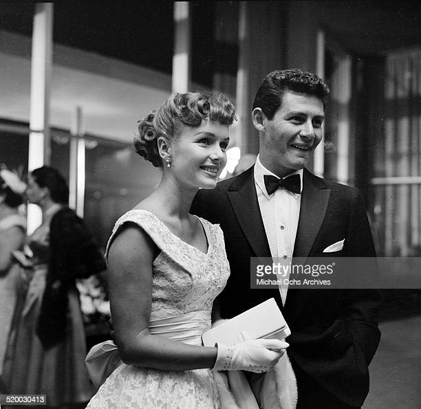Actress Debbie Reynolds and Eddie Fisher attend a party at the Hilton Hotel in Los AngelesCA