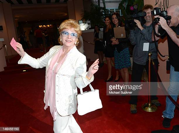 Actress Debbie Reynolds attends the 100th anniversary celebration of the Beverly Hills Hotel Bungalows supporting the Motion Picture Television Fund...