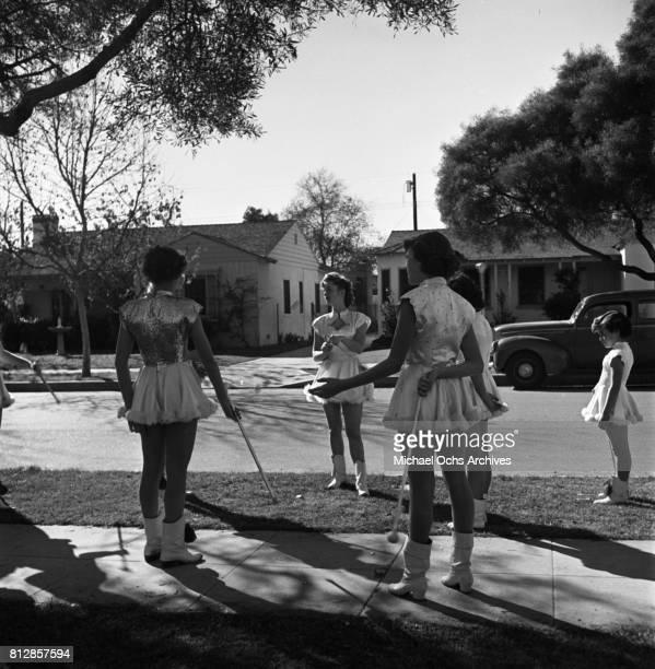 Actress Debbie Reynolds with the Burbank Majorettes at John Burroughs High School in circa 1948 in Burbank California