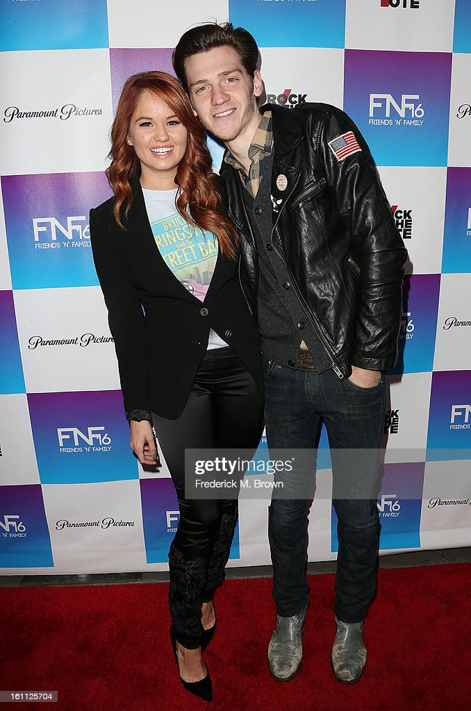 Actress <a gi-track='captionPersonalityLinkClicked' href=/galleries/search?phrase=Debby+Ryan&family=editorial&specificpeople=5443414 ng-click='$event.stopPropagation()'>Debby Ryan</a> (L) and her guest attend the 16th Annual 'Friends 'N' Family' Pre-GRAMMY Event at Paramount Studios on February 8, 2013 in Hollywood, California.