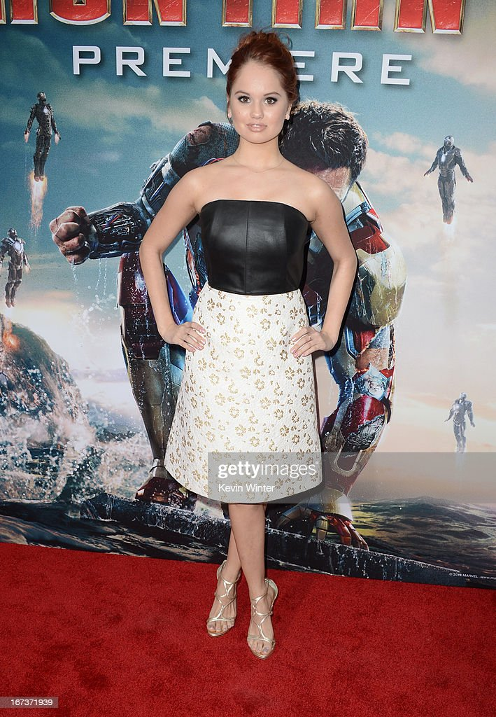 Actress Debby Ryan arrives at the 'Iron Man 3' Los Angeles premiere at the El Capitan Theatre on April 24, 2013 in Hollywood, California.