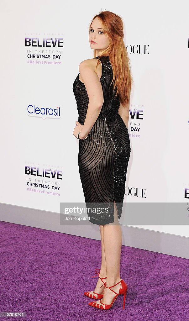 Actress <a gi-track='captionPersonalityLinkClicked' href=/galleries/search?phrase=Debby+Ryan&family=editorial&specificpeople=5443414 ng-click='$event.stopPropagation()'>Debby Ryan</a> arrives at the Los Angeles Premiere 'Justin Bieber's Believe' at Regal Cinemas L.A. Live on December 18, 2013 in Los Angeles, California.