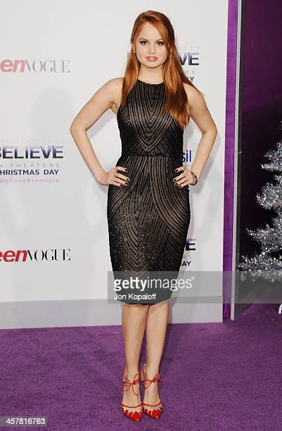 Actress Debby Ryan arrives at the Los Angeles Premiere 'Justin Bieber's Believe' at Regal Cinemas LA Live on December 18 2013 in Los Angeles...