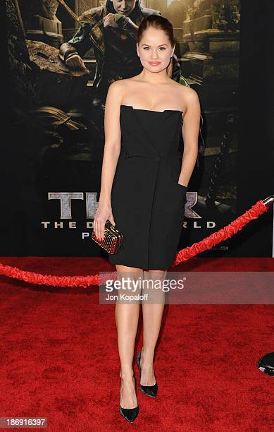 Actress Debby Ryan arrives at the Los Angeles Premiere 'Thor The Dark World' at the El Capitan Theatre on November 4 2013 in Hollywood California