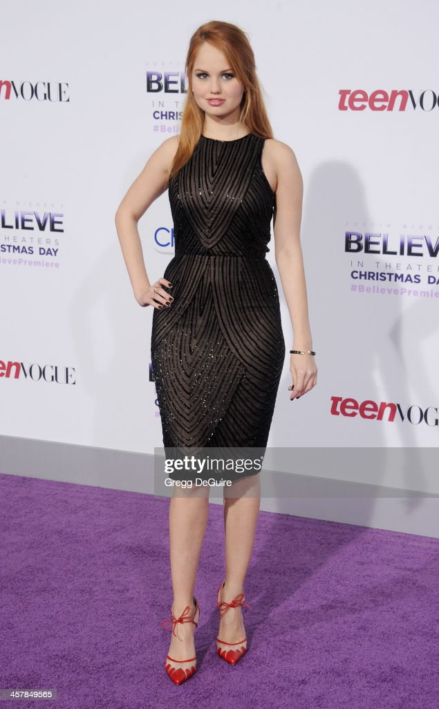 Actress <a gi-track='captionPersonalityLinkClicked' href=/galleries/search?phrase=Debby+Ryan&family=editorial&specificpeople=5443414 ng-click='$event.stopPropagation()'>Debby Ryan</a> arrives at the world premiere of 'Justin Bieber's Believe' at Regal Cinemas L.A. Live on December 18, 2013 in Los Angeles, California.