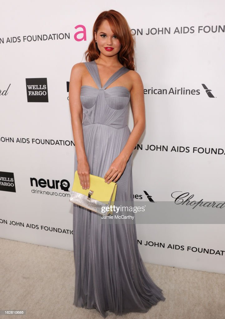 Actress Debby Ryan attends the 21st Annual Elton John AIDS Foundation Academy Awards Viewing Party at West Hollywood Park on February 24 2013 in West...