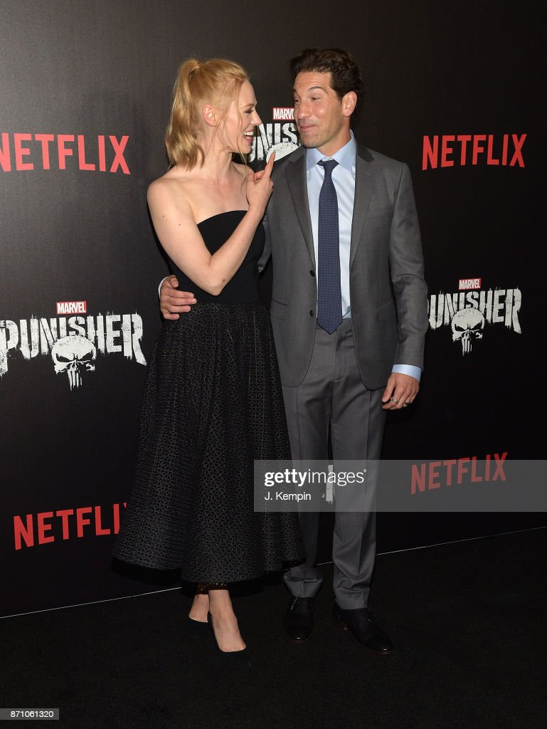 Actress Deborah Ann Woll and actor Jon Bernthal attend the 'Marvel's The Punisher' New York Premiere on November 6, 2017 in New York City.