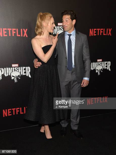 Actress Deborah Ann Woll and actor Jon Bernthal attend the 'Marvel's The Punisher' New York Premiere on November 6 2017 in New York City