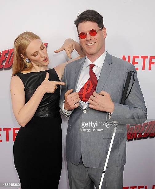 Actress Deborah Ann Woll and EJ Scott arrive at the premiere Of Netflix's 'Marvel's Daredevil' at Regal Cinemas LA Live on April 2 2015 in Los...