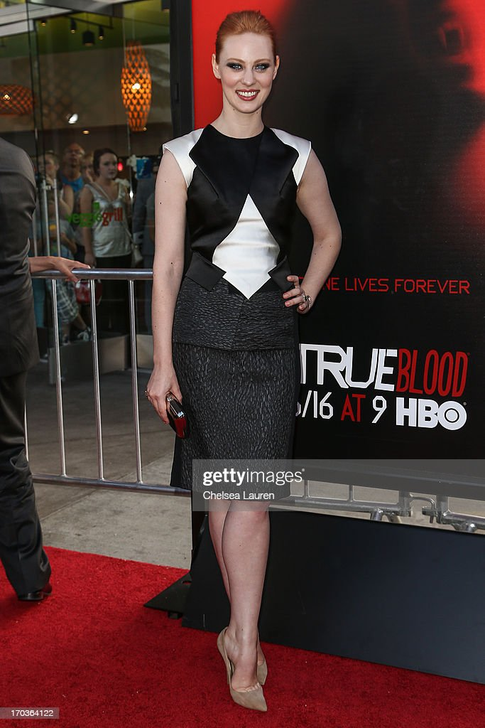 Actress <a gi-track='captionPersonalityLinkClicked' href=/galleries/search?phrase=Deborah+Ann+Woll&family=editorial&specificpeople=5909212 ng-click='$event.stopPropagation()'>Deborah Ann Woll</a> arrives at HBO's 'True Blood' season 6 premiere at ArcLight Cinemas Cinerama Dome on June 11, 2013 in Hollywood, California.