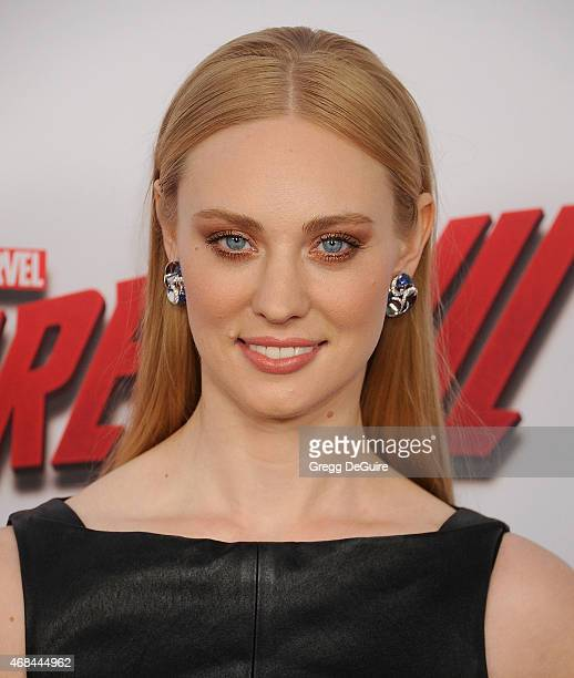 Actress Deborah Ann Woll arrives at the premiere Of Netflix's 'Marvel's Daredevil' at Regal Cinemas LA Live on April 2 2015 in Los Angeles California