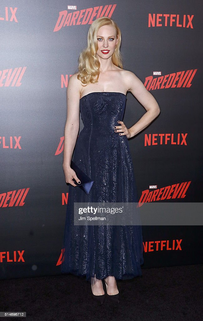 Actress Deborah Ann Woll attends the 'Daredevil' season 2 premiere at AMC Loews Lincoln Square 13 theater on March 10, 2016 in New York City.