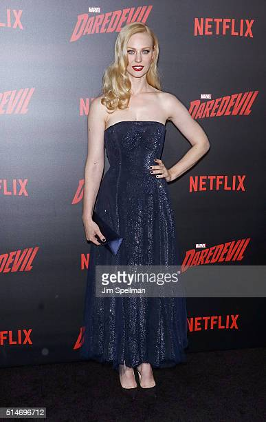 Actress Deborah Ann Woll attends the 'Daredevil' season 2 premiere at AMC Loews Lincoln Square 13 theater on March 10 2016 in New York City